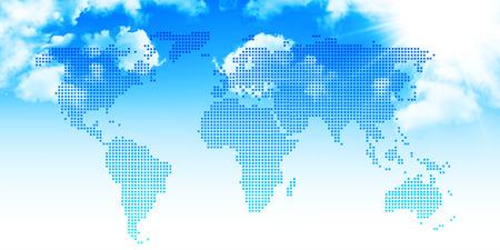 空背景を世界地図