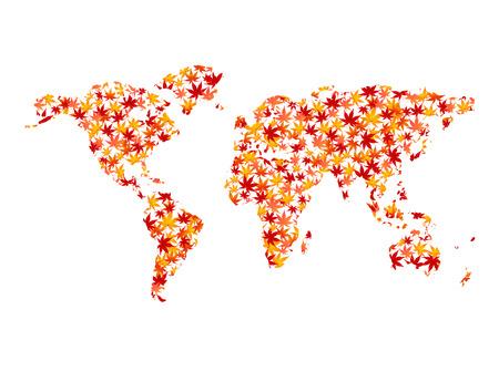 oceania: World Map maple foliage