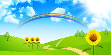 Sunflower sky background 向量圖像