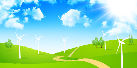 wind power: Wind power generation sky background Illustration
