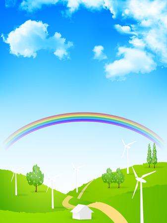 power generation: Wind power generation sky background Illustration