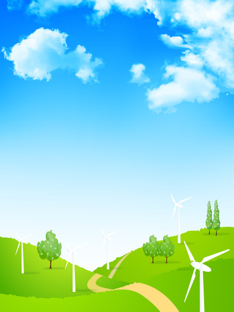 Wind power generation sky background  イラスト・ベクター素材