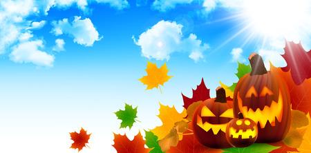 Halloween pumpkin maple  イラスト・ベクター素材
