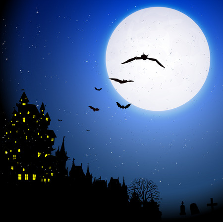 harvest moon: Halloween night sky background