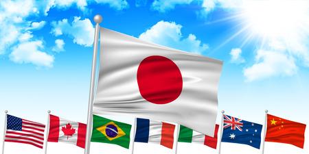 canada flag: Japanese flag background