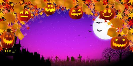 harvest moon: Halloween pumpkin maple Illustration