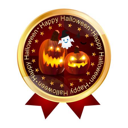 circle frame: Halloween pumpkin medal