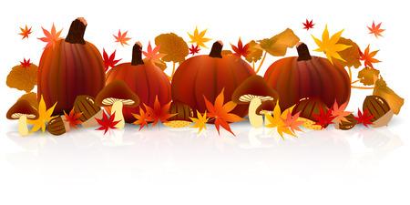 background herfst: Halloween pompoen esdoorn Stock Illustratie