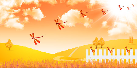 Autumn red dragonfly background