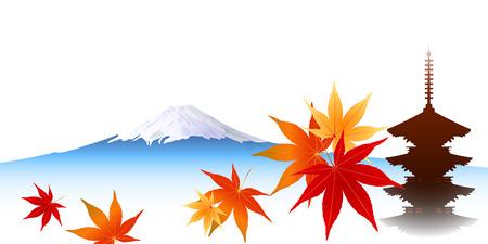 Maple foliage Mount Fuji Illustration