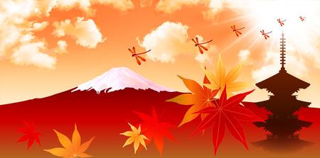 mount fuji: Maple foliage Mount Fuji Illustration
