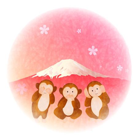 mount fuji: Monkey three wise monkeys Mount Fuji