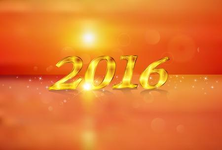 sunrise ocean: 2016 Sunrise New Years card Illustration