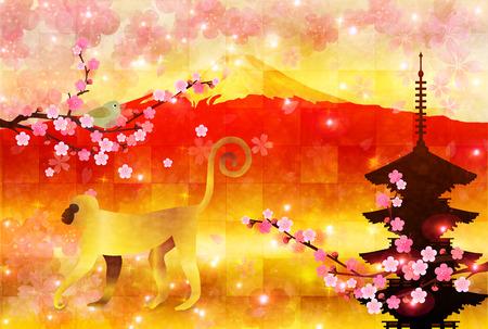 new years: Monkey Fuji New Years card