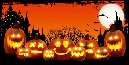 halloween castle: Halloween pumpkin background