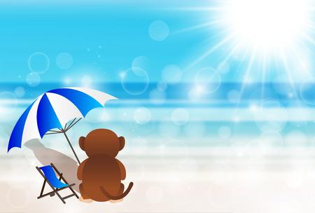 海を見て猿のイラストのグリーティング カード  イラスト・ベクター素材