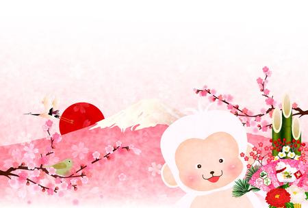 sho: Monkey Fuji New Years card