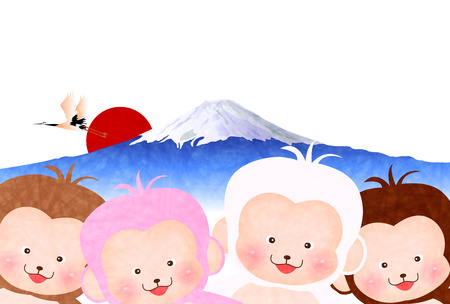 new year's card: Monkey Fuji New Years card