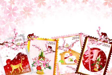 new years: Monkey stamp New Years card