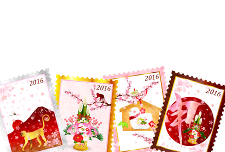 sho: Monkey stamp New Years card