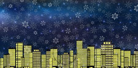 night view: Night scene snow background Illustration