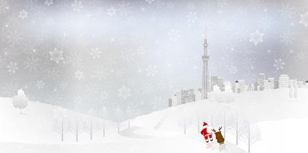 winter tree: Snow Santa background