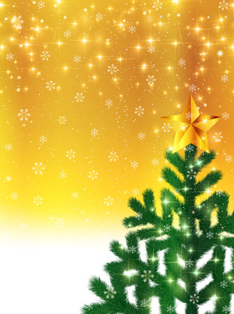 christmas snowflakes: Christmas fir tree background