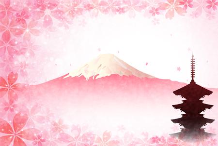 cherry tree: Fuji cherry tree New Years card Illustration