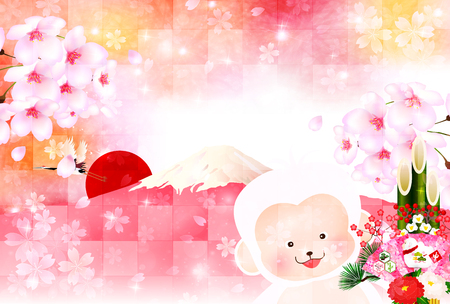 sho chiku bai: Monkey greeting cards background