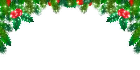 christmas night: Snow Christmas holly Illustration