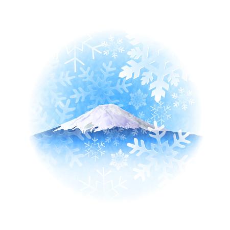 mount fuji: Crystal snow of Mount Fuji snow Illustration