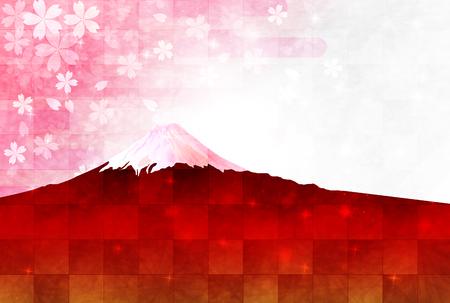 new years: Fuji cherry tree New Years card Illustration