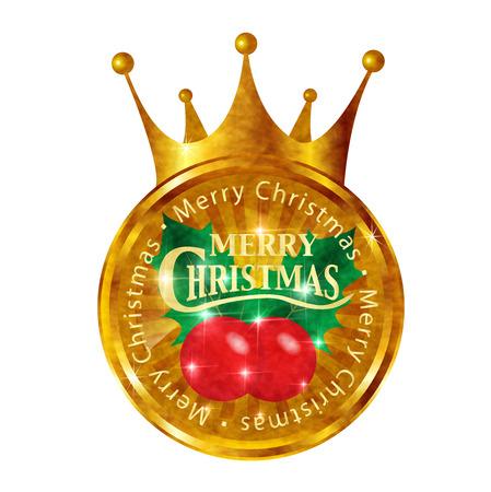 christmas crown: Acebo de la medalla de la corona Vectores