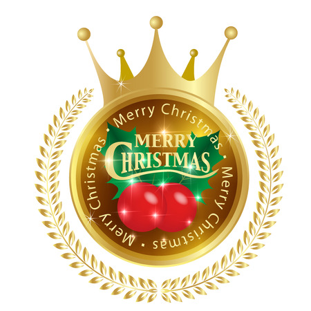 corona navidad: Acebo de la medalla de la corona Vectores
