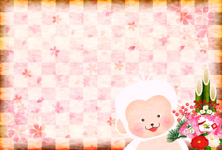 sho chiku bai: Monkey greeting cards background kadomatsu
