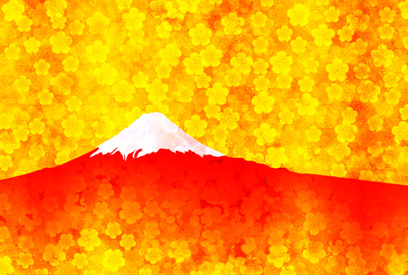 new years: Fuji plum New Years card background