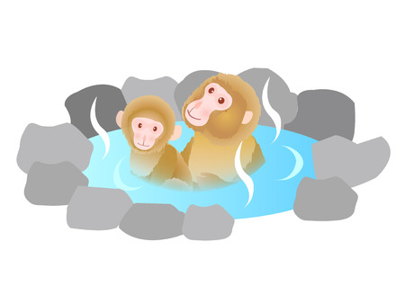 onsen: Monkey Onsen cute greeting cards Illustration