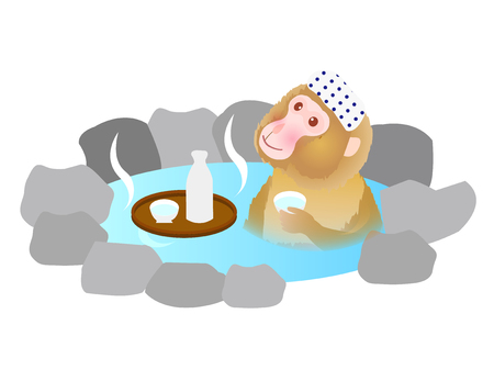 Cute monkey hot spring greeting cards