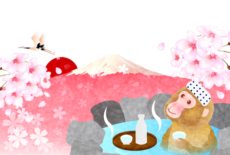 Monkey Fuji hot spring greeting cards Illustration