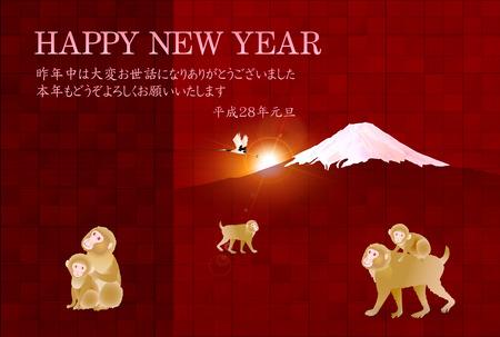 new years: Monkey Fuji New Years card background