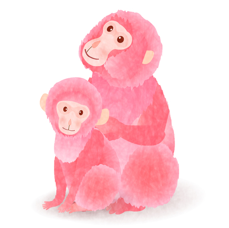 Monkey pink greeting cards icon
