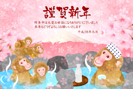 Monkey Hot Springs New Years card background