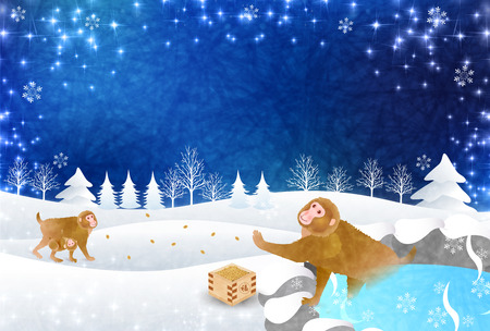 openair: Monkey snow New Years card background Illustration