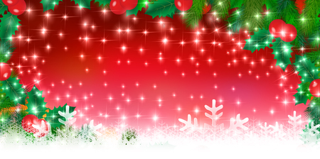 christmas snow: Christmas snow holly background