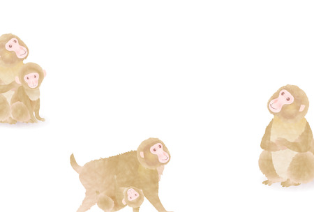 new years: Monkey cute New Years card background Illustration