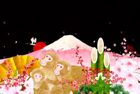 sho chiku bai: Monkey Fuji New Years card background