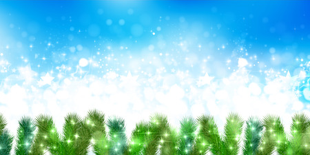 christmas snow: Snow Christmas fir tree background Illustration