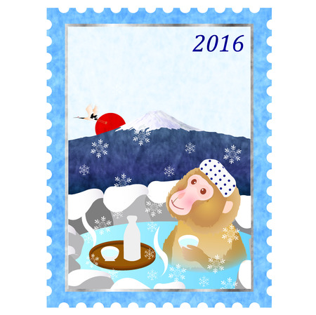 openair: Monkey hot spring stamp