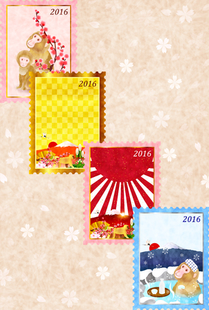 sho: Monkey cherry tree New Years card Illustration