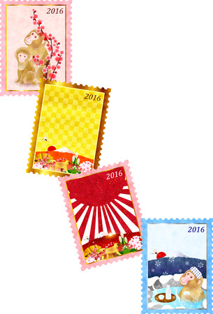 sho chiku bai: Monkey cherry tree New Years card Illustration